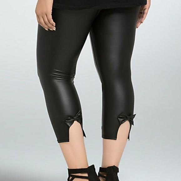 46d84f5d478ce4 torrid Pants | Faux Leather Bow Back Leggings | Poshmark